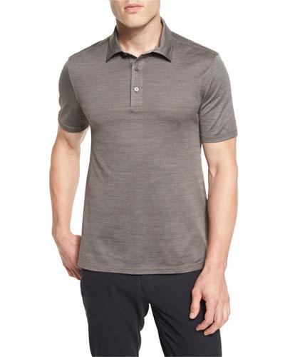 Herringbone Polo Shirt, Brown