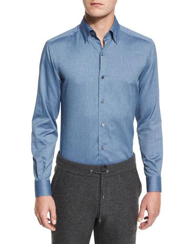 Baby Flannel Long-Sleeve Sport Shirt, Dark Blue
