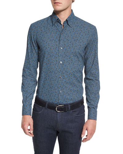 Floral-Print Long-Sleeve Sport Shirt, Blue Pattern