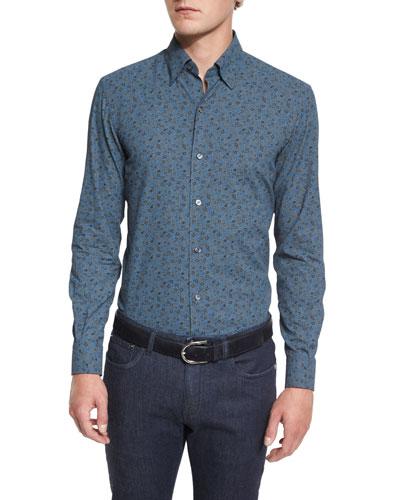 Floral-Print Long-Sleeve Sport Shirt, Blue Pattern