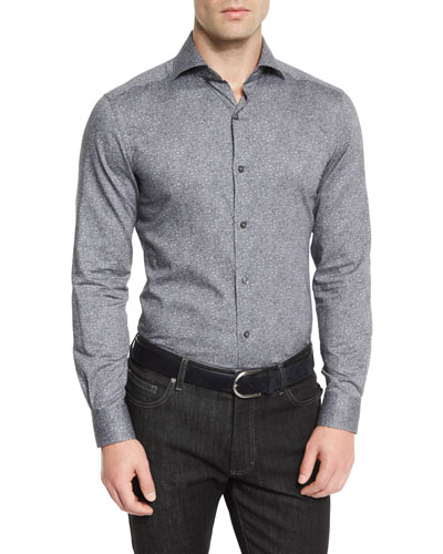Floral-Print Long-Sleeve Sport Shirt, Gray
