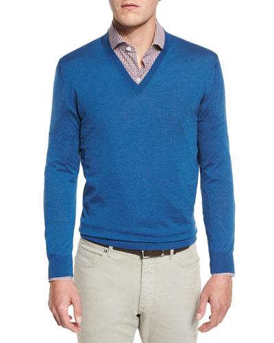 High-Performance Merino Wool V-Neck Sweater, Aqua