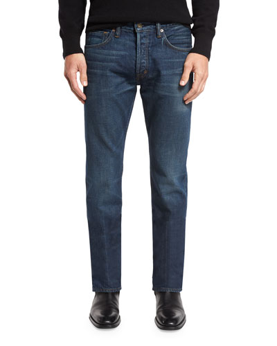 Regular-Fit Selvedge Harrison Wash Denim Jeans, Blue