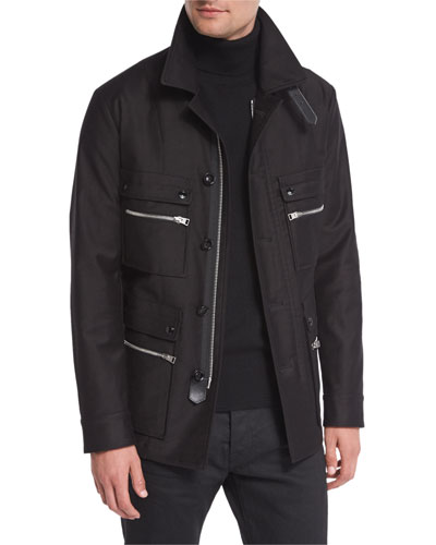 Satin-Cotton Field Jacket, Black