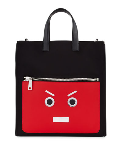 Fendi Faces Leather Tote Bag, Black/Flame Red