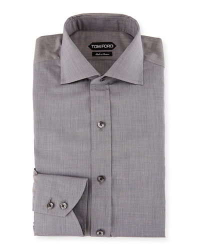 Slim-Fit End-on-End Dress Shirt, White/Black
