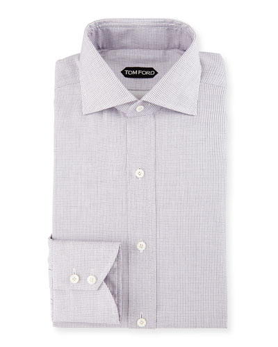 Tiny-Dot Striped Slim Dress Shirt, Pink