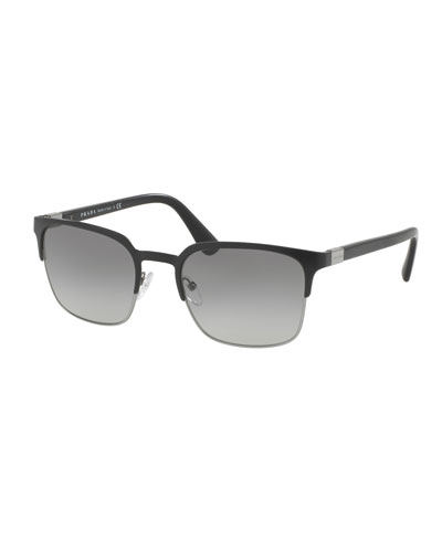 Square Half-Rim Metal Sunglasses, Matte Black/Gunmetal