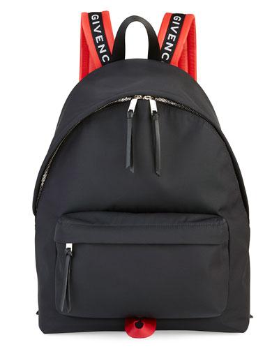 Men's Nylon Logo-Strap Backpack, Black