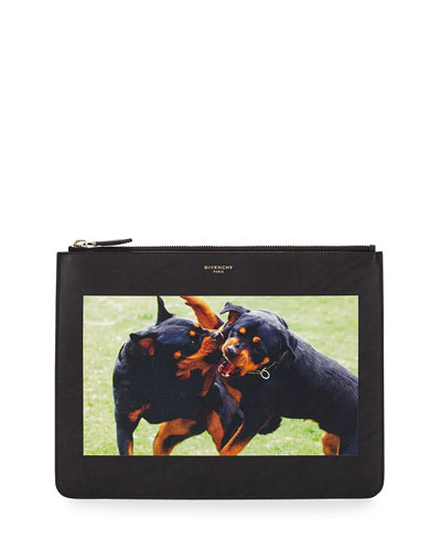 Fighting Rottweiler Calf Leather Pouch, Black