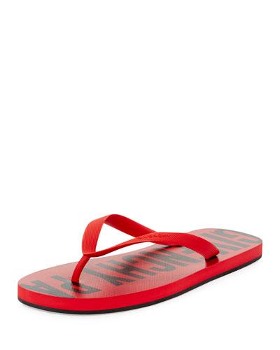 Men's Rubber Logo Flip Flop, Red