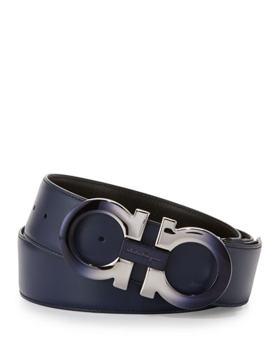 Degrade Double-Gancini Reversible Leather Belt, Blue/Black