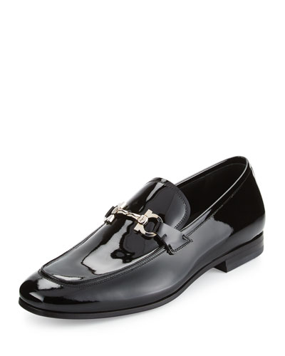 Patent Leather Gancio Loafer, Black