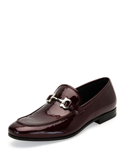 Funes 2 Patent Leather Gancio Loafer, Bordeaux