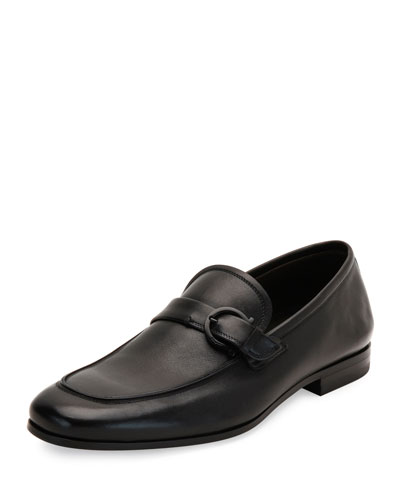 Faruk Soft Calfskin Side-Gancio Loafer, Black