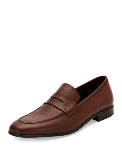 Fiorino 2 Textured Calfskin Penny Loafer, Brown
