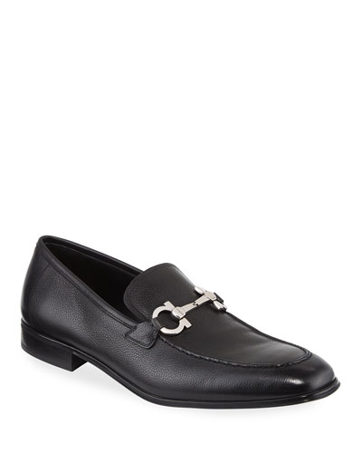 Flori 2 Textured Calfskin Gancini Loafer, Black