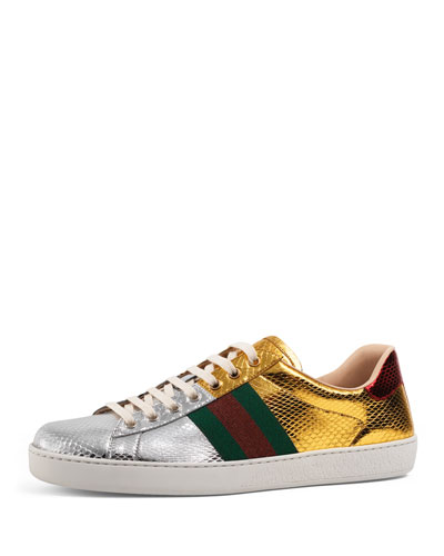 New Ace Snakeskin Low-Top Sneaker, Gold/Silver