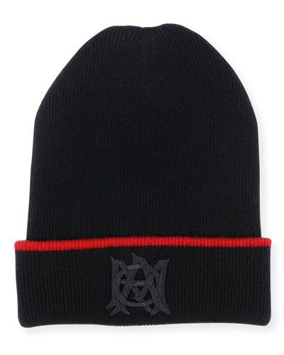 Men's Reversible Beanie Hat with Insignia, Red/Black