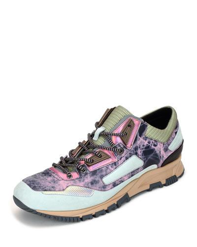 Metallic Leather Running Sneaker, Multicolor