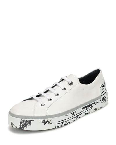 Leather Graffiti-Sole Derby Sneaker, White