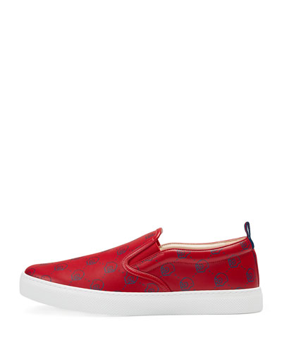 GucciGhost Leather Slip-On Sneaker, Red