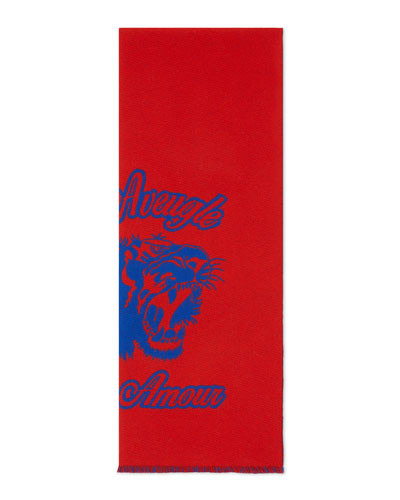 Wool Tiger Jacquard Scarf, Navy/Red