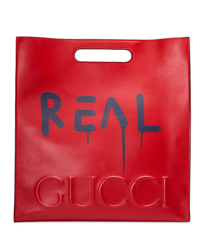 GucciGhost Large Leather Tote Bag, Red/Blue