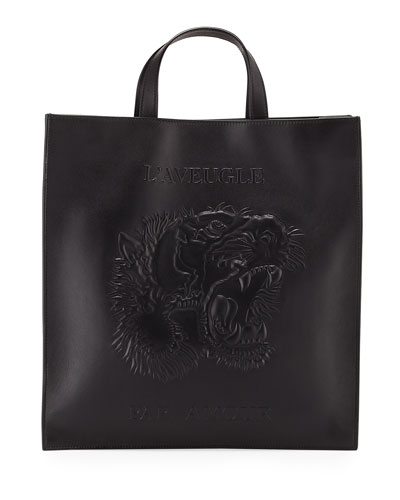 Men's Embossed Leather L'Aveugle Par Amour Tiger Tote, Black