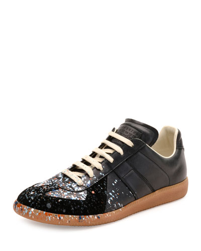 Pollock Paint-Splatter Leather & Suede Low-Top Sneaker, Black