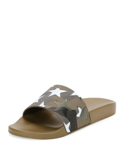 Men's Camustars Rubber Slide Sandal, White/Green