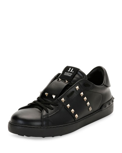 Rockstud Untitled Men's Leather Low-Top Sneaker, Black