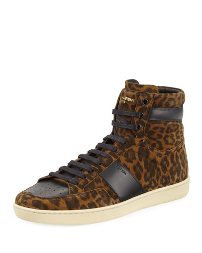 SL/10H Leopard Suede High-Top Sneaker