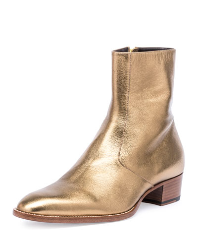 Wyatt 40mm Men's Metallic Leather Ankle Boot, Gold