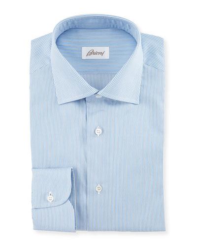 Micro-Striped Woven Dress Shirt, Blue