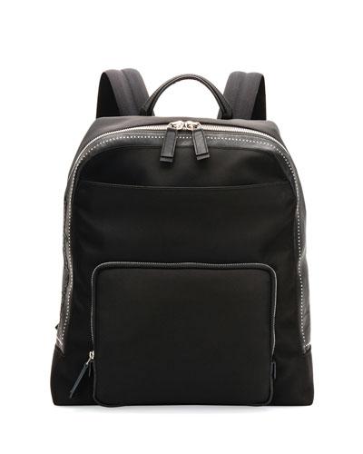 Studded Nylon Canvas Backpack, Black
