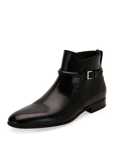 Buckle-Strap Ankle Boot, Black
