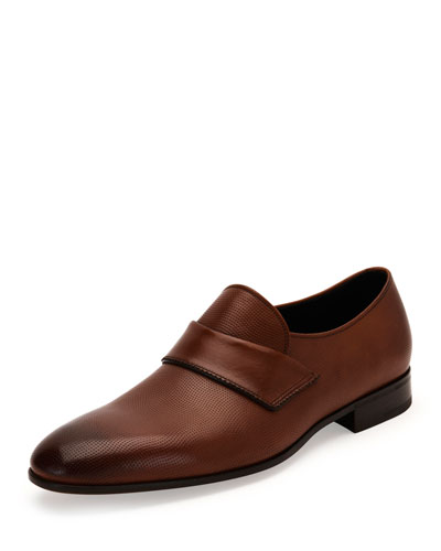 Fiesse Micro-Perforated Leather Loafer, Brown