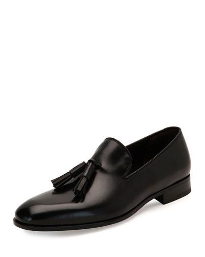 Tassel Leather Loafer, Black