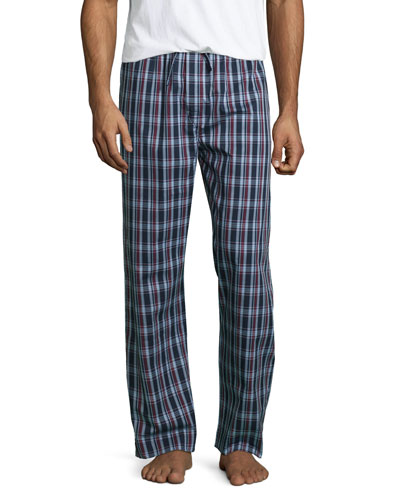 Plaid Pajama Pants, Burgundy/Navy