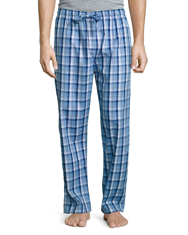 Plaid Cotton Pajama Pants, Blue