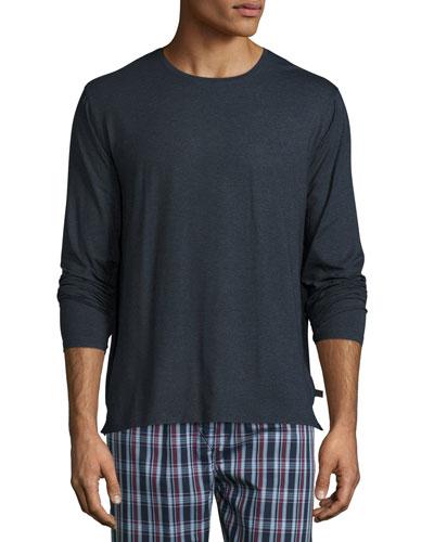 Long-Sleeve Cotton T-Shirt, Charcoal
