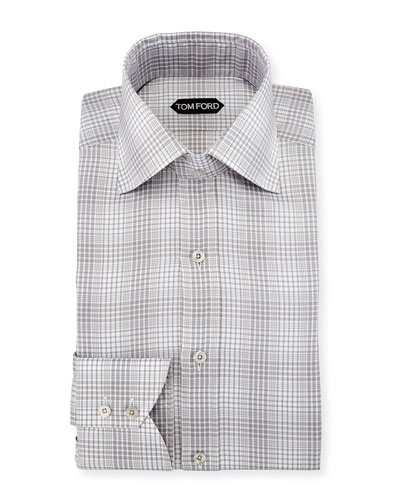 Slim-Fit Twill Plaid Bicolor Dress Shirt, Gray
