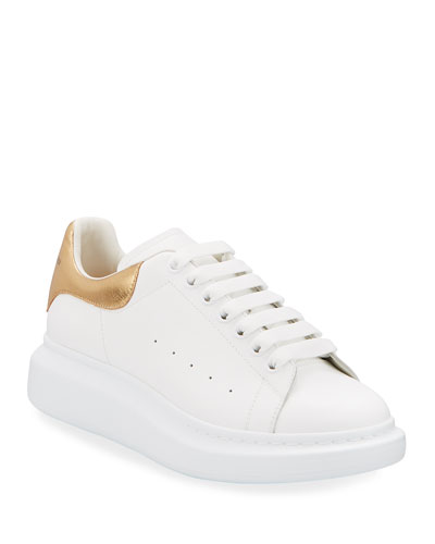 Leather Low-Top Sneaker w/Golden Heel, White