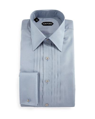 Pleated Silk Tuxedo Shirt, Light Blue