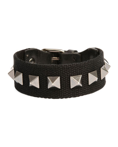 Men's Nylon Rockstud Bracelet, Black
