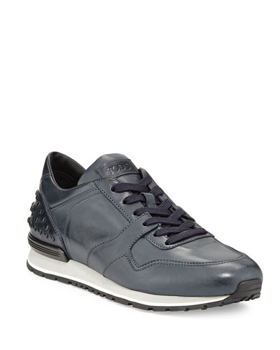 Burnished Leather Trainer Sneaker, Navy