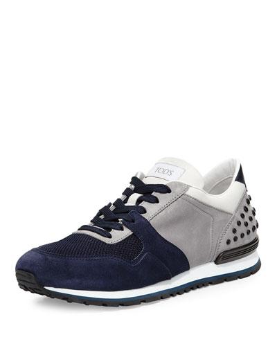 Colorblock Trainer Sneaker, Navy/Gray