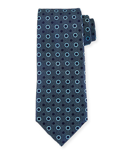 Multi-Dot Silk Tie, Blue