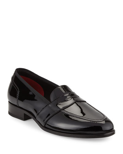 Taylor Patent Leather Penny Loafer, Black